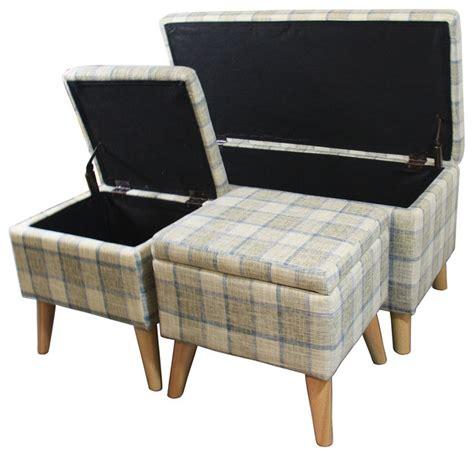 gray ottoman bench 18 quot grey plaid storage bench 2 storage ottoman seating