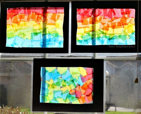 Paper Stained Glass Window Craft - rainbow craft tissue paper suncatcher collages