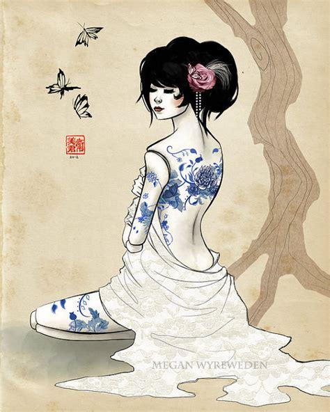 china doll drawing china doll series 11x14 blue china by