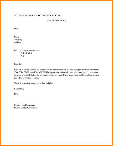 Award Notification Letter From 9 Bid Award Letter Template Resumed