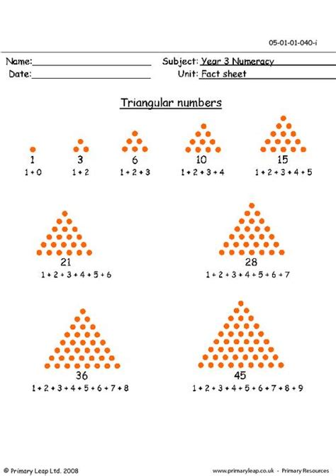 triangle pattern numbers triangular numbers info sheet primaryleap co uk