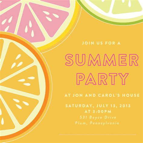 card template summer party invitation template card