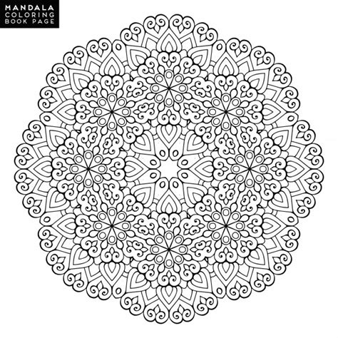 outline mandala  coloring book decorative  ornament anti stress therapy pattern weave
