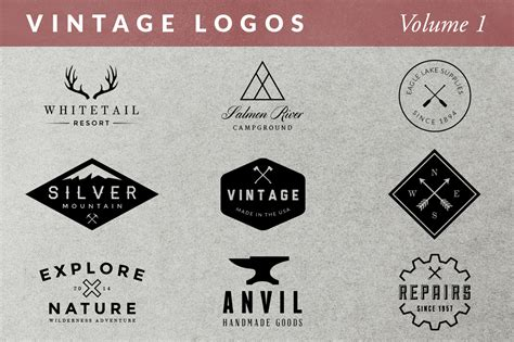vintage logos volume 1 logo templates on creative market