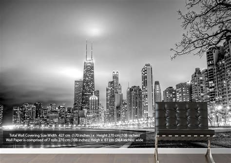 Teenage Wall Stickers Uk black white city architecture grey wallpaper printed wall