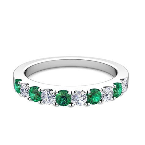 pave and emerald wedding anniversary ring band in