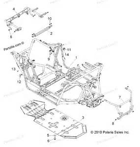polaris atv parts 2011 r11jh87aa ad ranger rzr xp 900 chassis frame and skid plate diagram