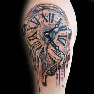 40 melting clock tattoo designs for men salvador dali