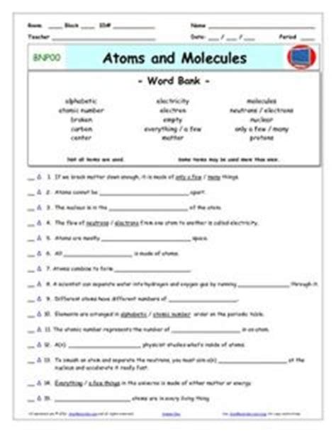 Atoms And Elements Worksheet by Bill Nye Atoms And Bill O Brien On