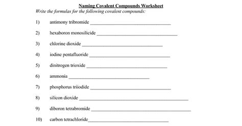 naming covalent compounds worksheet doc google docs