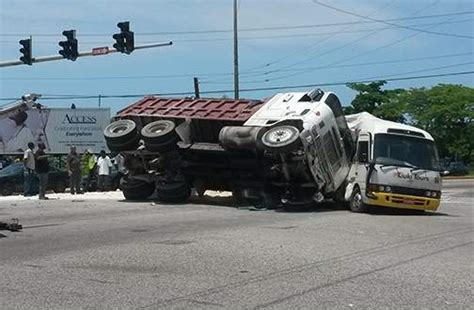 truck coaster bus collide  mobay  passengers
