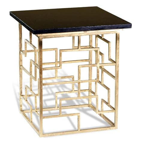 Geometric Side Table Pendleton Antique Gold Leaf Geometric Contemporary Side Table Kathy Kuo Home