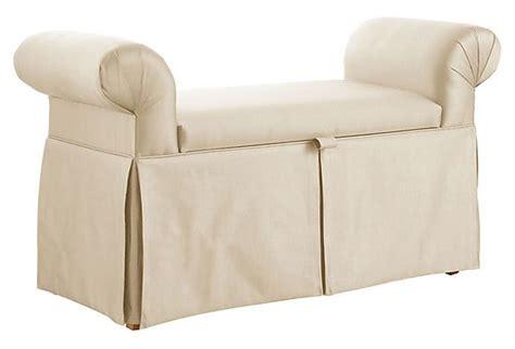 roll arm storage bench mara roll arm storage bench cream on onekingslane com
