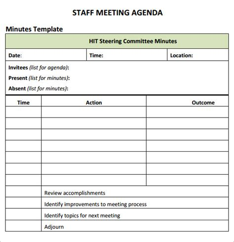 staff establishment template staff meeting agenda 7 free sles exles format