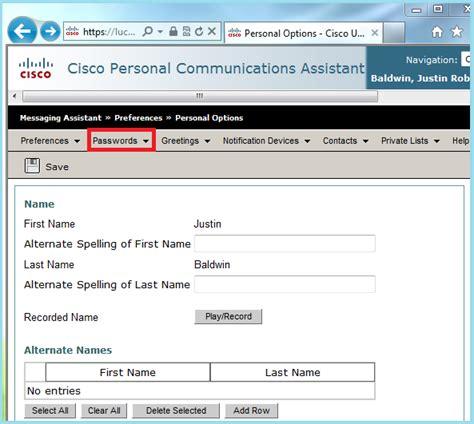 reset voicemail password cisco uc560 servicenow liberty university