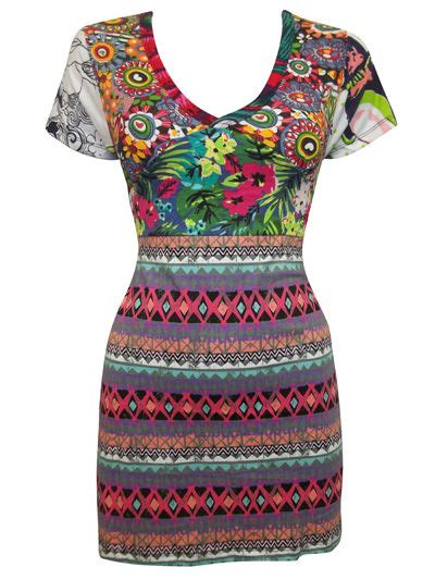 Dress Import V Bkk Js Mini Dress desigual patch work tunic dress abstract tropical floral