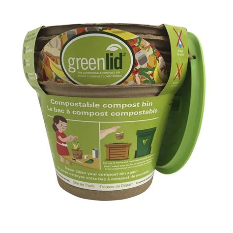 shop greenlid 5 count 1 gallon brown indoor kitchen trash