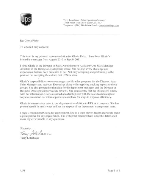 Recommendation Letter Administrative Assistant Ups Letter Of Recommendation