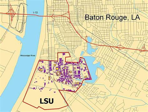 louisiana college map lsu cus map map travel holidaymapq