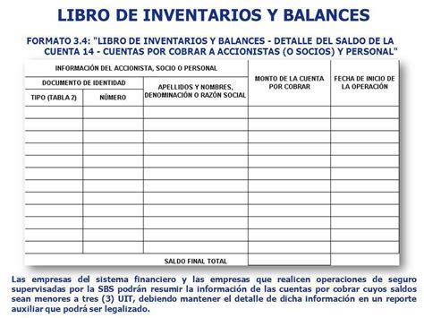 libro de inventarios y balances sunat 2015 formato de inventario y balance formato 3 1 libro de