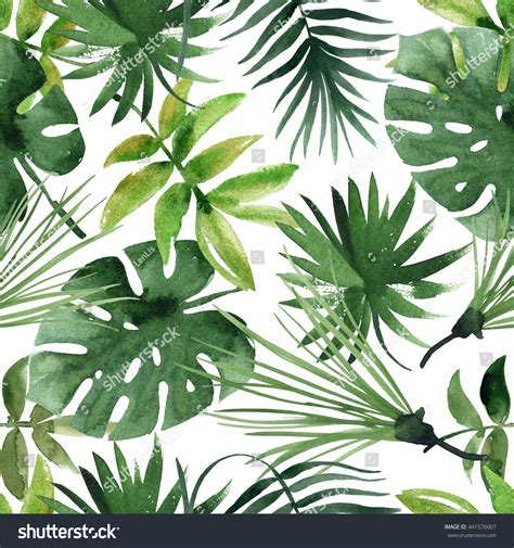 watercolor leaf pattern watercolor tropical leaves seamless pattern stock photo