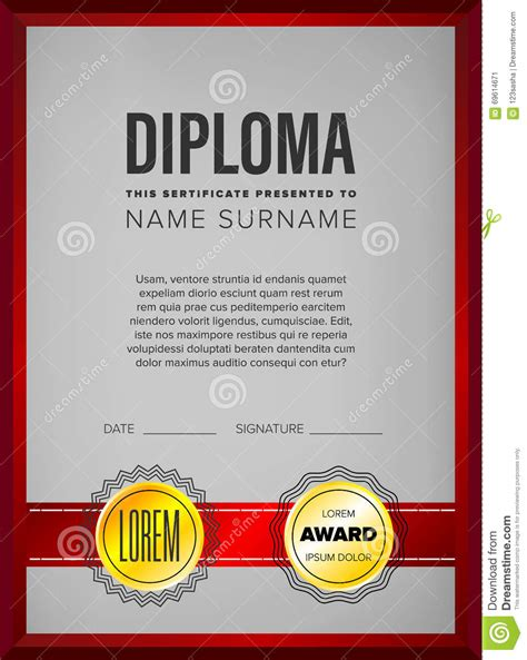 diploma certificate design template stock vector image