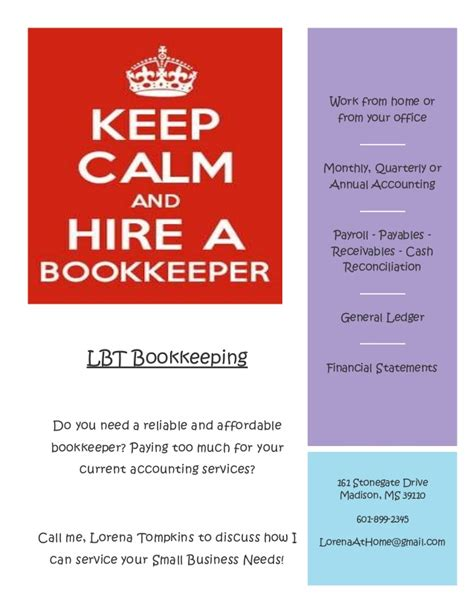 Sample Bookkeeping Resume by Lbt Bookkeeping Flyer