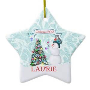 snowman christmas tree christmas ornament custom made