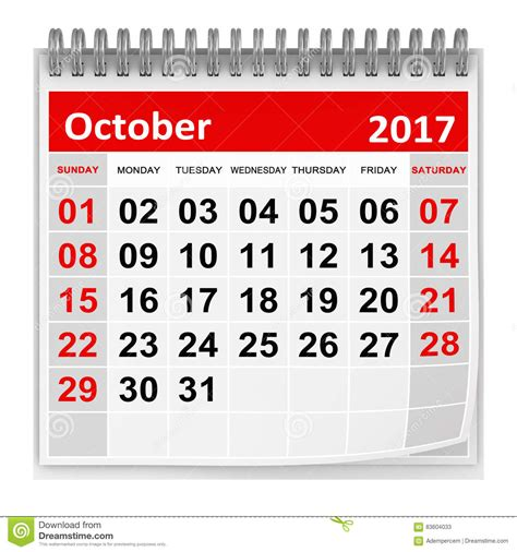 Calendrier 3 Octobre Calendrier Octobre 2017 Illustration Stock Image 83604033