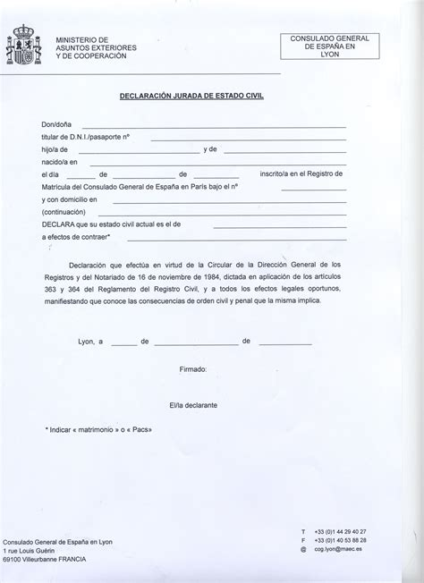 declaracion jurada de matrimonio documentaci 243 n y tr 225 mites