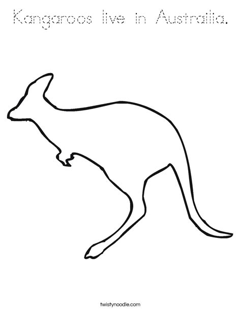 Aboriginal Australian Animal Outlines by Kangaroos Live In Austrailia Coloring Page Tracing Twisty Noodle