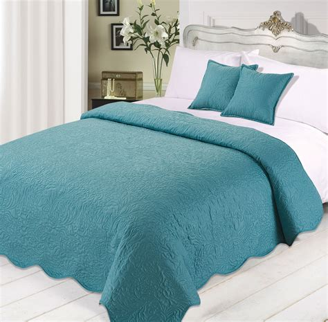 Teal Quilted Bedspread 3pc Luxurious Quilted Bedspread Comforter Cushions Set