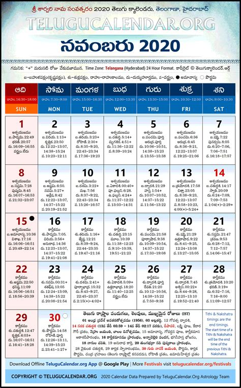 telangana  november telugu calendar high resolution