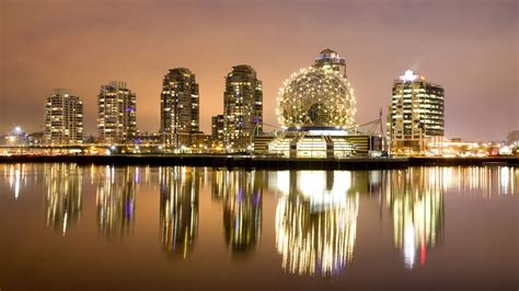 3d wallpaper vancouver buildings city downtown vancouver reflected in false