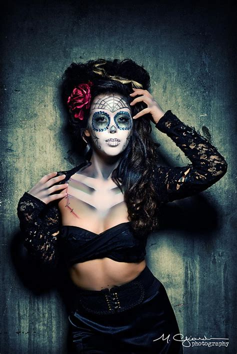 cool  de los muertos sugar skull makeup art