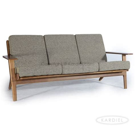wooden sofa with removable cushions hans j wegner style plank sofa oatmeal twill dark wood