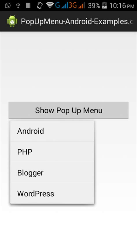 Create custom Popup Menu in Android Studio Eclipse example