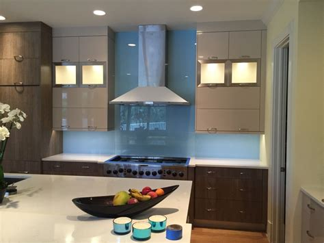 Blue Kitchen Ideas by Painted Back Glass The Glass Shoppe A Division Of