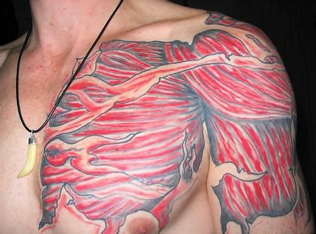 chest tattoo muscle 13 creepiest anatomical tattoos strange tattoos oddee