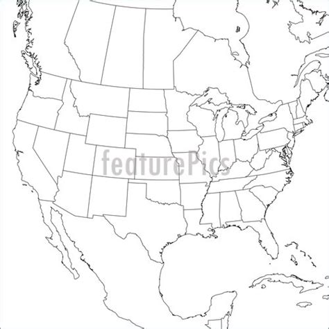 us map with states blank outline blank map of canada united states and mexico