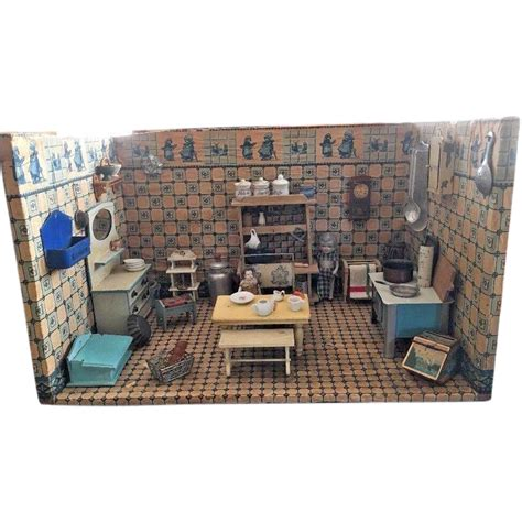 dolls house room boxes antique german delft kitchen miniature doll house room box gottschalk from