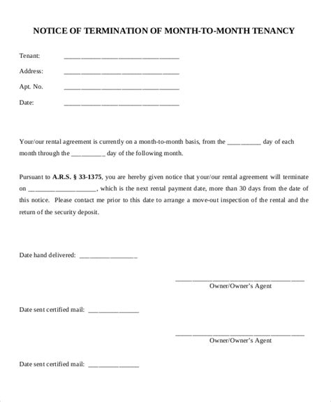 termination letter format with one month notice 19 notice letters free premium templates