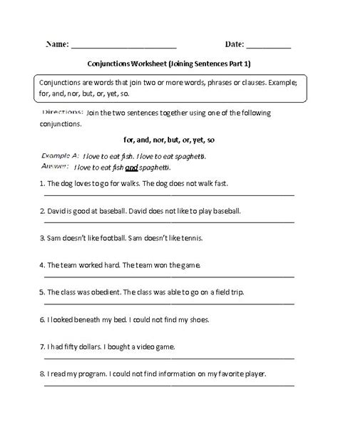 8th Grade Grammar Worksheets by Conjunctions Worksheet Joining Sentences Intermediate