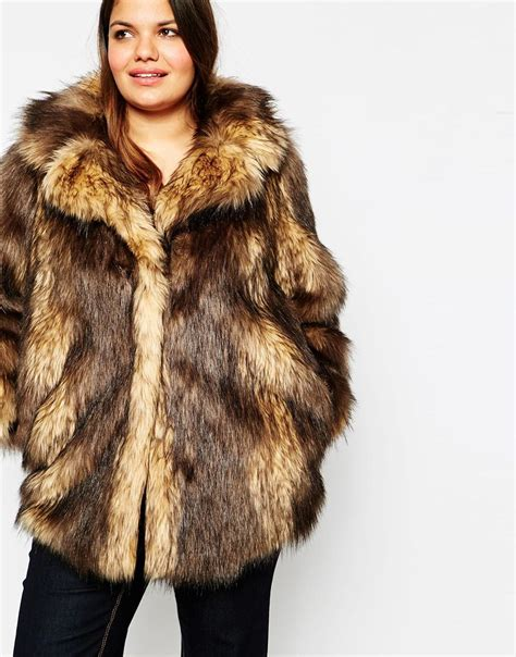Faux Fur by Asos Vintage Faux Fur Coat In Brown Lyst
