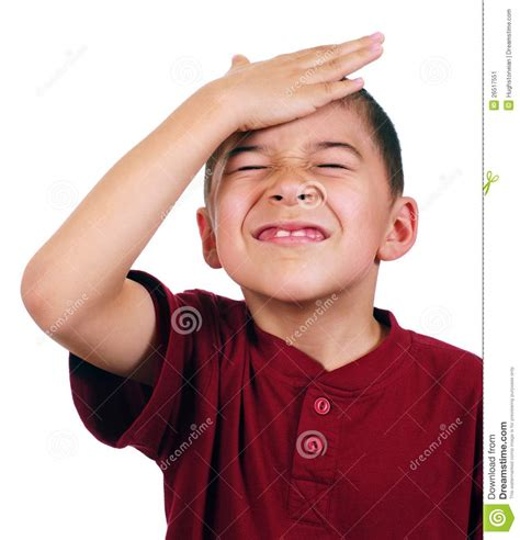 boy oh kid slaps himself on head oh no stock image image 26517551