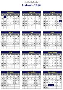 Calendar 2018 Holidays Ireland Ireland 2018 Printable Calendar 171 Printable Hub