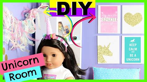 diy american girl doll unicorn room decor youtube