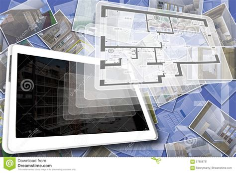 home design 3d tablet house plan stock illustration image 57858781