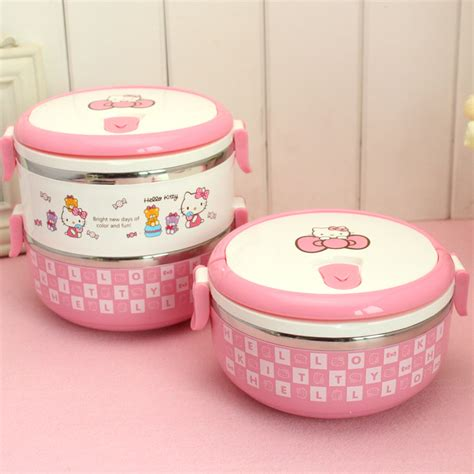 Sanrio Lunch Box Stainless Hello 2 Layer Kotak Limited hello stainless steel lunch box for thermal bento for school students in