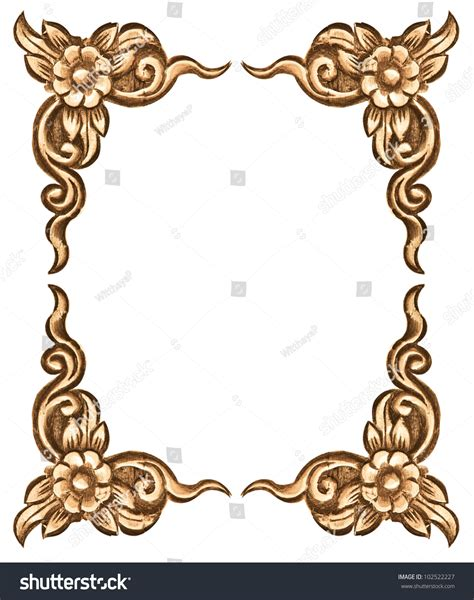 pattern of wood frame carved pattern wood frame carve flower on stock photo 102522227